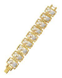 Lele Sadoughi | Metallic Pearly Bead & Pave Fireball Bracelet | Lyst