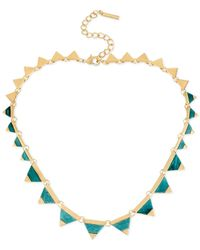 Steve Madden - Blue Gold-Tone Turquoise Triangle Collar Necklace - Lyst