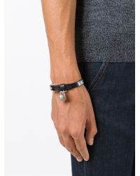 Alexander McQueen - Black Valour Print Skull Charm Bracelet for Men - Lyst