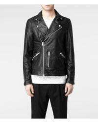 AllSaints Black Jasper Leather Biker Jacket for men
