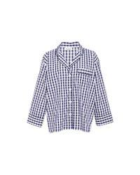 Sleepy Jones Blue Cotton Navy Gingham Marina Pajama Shirt
