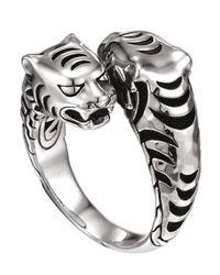 John Hardy | Metallic Tiger Head Overlap Silver Ring Size 7 | Lyst