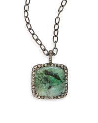 Bavna | Green Emerald & Grey Pavã© Diamond Cushion Pendant Necklace | Lyst