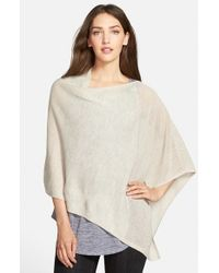 Eileen Fisher - Blue Mesh Detail Wool Knit Poncho - Lyst
