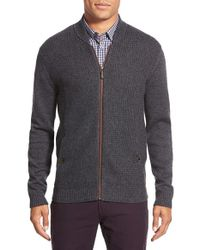 Ted Baker | Gray 'duk' Modern Slim Fit Knit Bomber for Men | Lyst