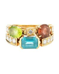 BVLGARI | Metallic Pre-owned: Bvlgari 18k Yellow Gold Diamond And Multi Stone Color Collection Ring From The Allegra Collection | Lyst
