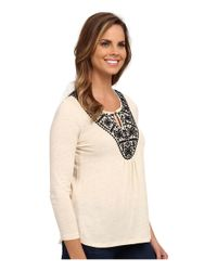 Lucky Brand - Natural Stitched Bib Top - Lyst