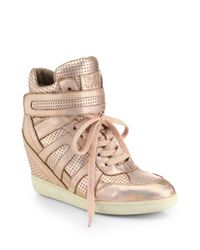 Ash - Beck Metallic Leather Wedge Sneakers - Lyst