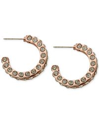 T Tahari | Metallic Rose Gold-Tone Essential Flat Edge Pavé Hoop Earrings | Lyst