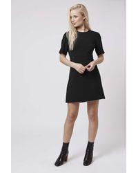 TOPSHOP | Black Popper Shift Dress | Lyst
