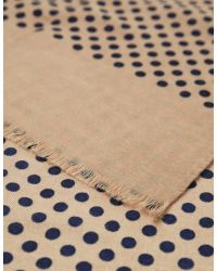 Jules B - Natural Polka Dot Wool Scarf for Men - Lyst