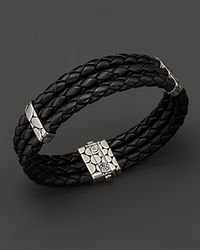 John Hardy | Men'S Kali Silver Triple Row Black Woven Leather Bracelet for Men | Lyst