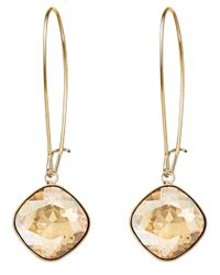 Swarovski | Metallic Thankful Gold-plated Crystal Drop Earrings | Lyst