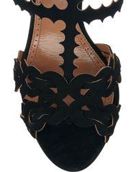 Alaïa | Black Laser-Cut Suede Sandals | Lyst