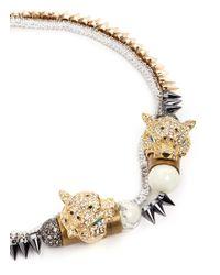 Venna - Metallic Crystal Jaguar Head Pyramid Spike Necklace - Lyst