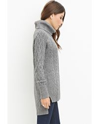 Forever 21 | Gray Wool-blend Cable Knit Sweater | Lyst