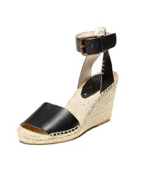 Soludos | Black Open Toe Leather Wedge Sandal | Lyst