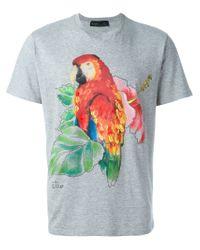 Etro Gray Parrot Print T-shirt for men