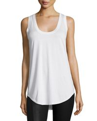 Three Dots | White Scoop-neck Long Jersey Tank | Lyst