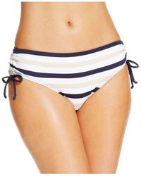 Michael Kors | Blue Michael Striped Hipster Bikini Brief Bottom | Lyst
