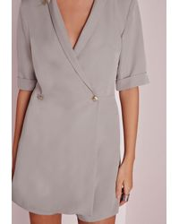 Missguided - Gray Blazer Style Romper Grey - Lyst