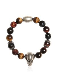 Emanuele Bicocchi | Brown Quartz Beads & Skull Bracelet for Men | Lyst
