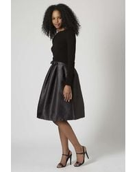 TOPSHOP Black Structured Midi Skirt By Rare