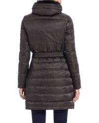 Vince Camuto | Green Faux Fur-collared Quilted Coat | Lyst