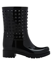 Valentino - Black Rockstud Patent Rainboots - Lyst