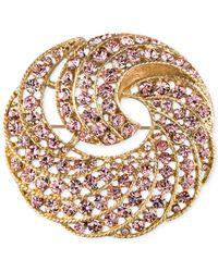 Jones New York - Metallic Gold-Tone Pink Crystal Swirl Pin - Lyst
