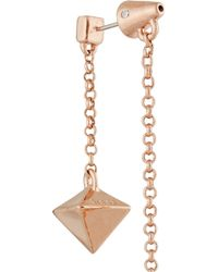 Eddie Borgo - Pink Pyramid Pendulum Rose Gold-Plated, Agate And Quartz Earrings - Lyst