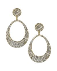 INC International Concepts - Metallic Goldtone Crystal Pave Open Oval Drop Earrings - Lyst