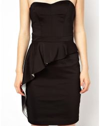 Oasis - Black Ruffle Structure Dress - Lyst