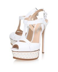 Casadei White Isabella Leather Platform Sandal