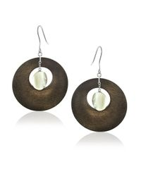 Lord & Taylor | Gray Mother-of-pearl And Wooden Hoop Earings - 1.75 In. | Lyst