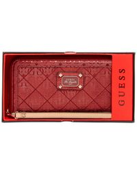 Guess Red Juliet Boxed Large Zip Around Wallet