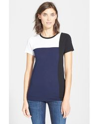 VINCE | Black Short Sleeve Colorblock Tee | Lyst