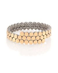 John Hardy | Metallic Dot 18k Yellow Gold & Sterling Silver Two-row Coil Bracelet | Lyst
