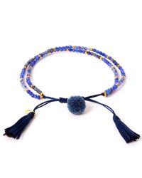 Tai Blue Pom-pom Stone Beaded Bracelet