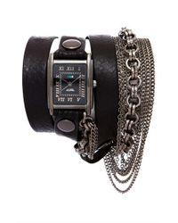 La Mer Collections - Black 'carerra' Leather & Chain Wrap Bracelet Watch - Lyst