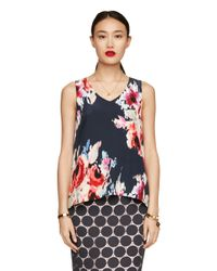 kate spade new york | Blue Hazy Floral Sleeveless Top | Lyst