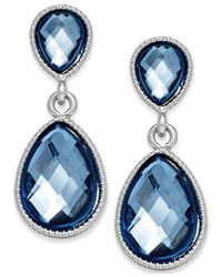 Style & Co. | Blue Silver-tone Faceted Tiny Teardrop Earrings | Lyst