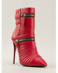 Giuseppe Zanotti Red Zip Detail Ankle Boots