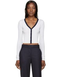 T By Alexander Wang - White Ivory Ribbed Merino Cardigan - Lyst