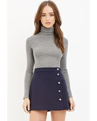 Forever 21 | Blue Buttoned Mini Skirt | Lyst