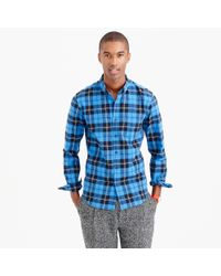 J.Crew Blue Slim Vintage Oxford Shirt In Ramsay Tartan for men