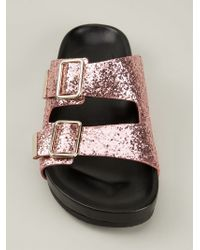 Givenchy Pink Swiss Glitter Double-buckle Sandal