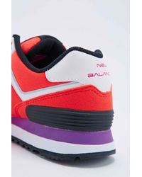 New Balance Red 574 Neon Lights Runner Trainers In Coral