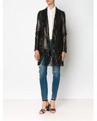 L'Agence - Black Fringe Hem Long Jacket - Lyst
