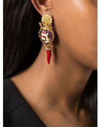 Dolce & Gabbana - Red Crown Rose Chili Clip-On Earrings - Lyst
